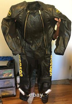 VANSON Full Body Competition Leather Motorcycle Racing Suit Size 44 MED Weight