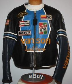 VANSON LEATHERS STAR leather jacket Size L XL Very Rare Blue with serial #