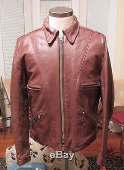 VANSON LEATHER Boston Mass. Model F Brown Motorcycle Jacket Mens 42 Vintage
