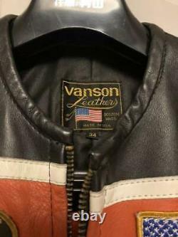 VANSON Leather Riders Jacket Outer Blouson Flag Emblem Men's 34 Vintage Biker