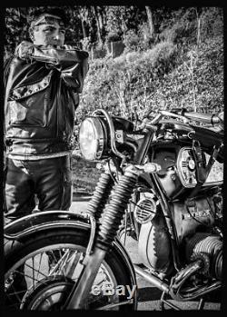 VANSON Leathers Swedish Motorcycle Military Police / Cafe Racer Jacket Size 42