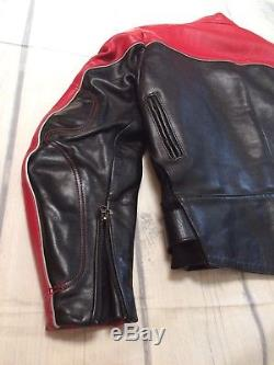 VANSON STAR Red & Black Leather Motorcycle Cafe Racer Jacket USA MADE Size 44