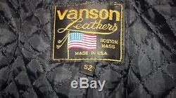 VANSON USA BOSTON MASS. LEATHER JACKET MENS SIZE 52 XXL. Harley riders