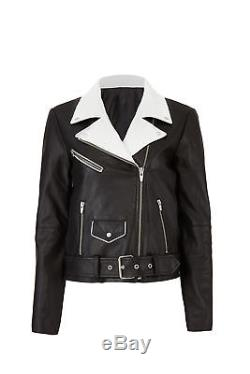 VEDA Black White Colorblock Women Size XL Motorcycle Leather Jacket $1100- #950