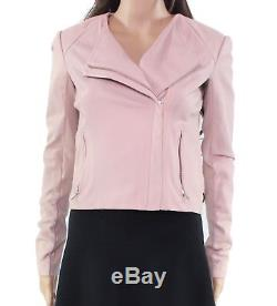VEDA Pink Women's Size P Petite Collarless Motorcycle Leather Jacket $898- #668