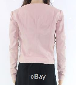 VEDA Pink Women's Size Small S Collarless Motorcycle Leather Jacket $898- #674