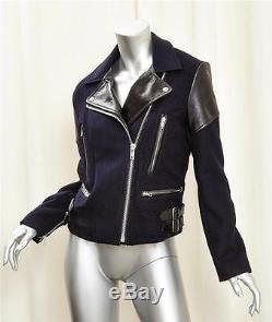 VICTORIA BECKHAM Black+Navy Leather+Wool Moto Motorcycle Biker Jacket Coat S