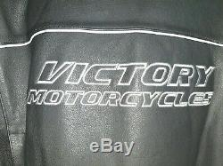 VICTORY Motorcycles Black Leather Jacket. Cafe Racer Snap collar. Size XXL