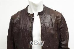 VINCE Mens Dark Brown Leather Long-Sleeve Moto Motorcycle Biker Jacket Coat M