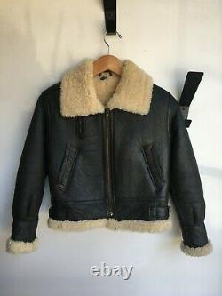 VINTAGE 1970s Dark Brown Leather Beige Shearling Sheepskin Biker Moto Jacket XS