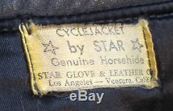 VINTAGE'50s BLOCK BILT STAR CHP HORSEHIDE MOTORCYCLE JACKET