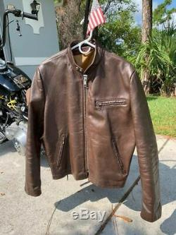 VINTAGE 60s LESCO LEATHER MOTORCYCLE JACKET SIZE 42 BROWN CAFE RACER BIKER