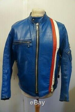 VINTAGE 70's BELSTAFF EASY RIDER BLUE LEATHER MOTORCYCLE JACKET SIZE 108CM 42