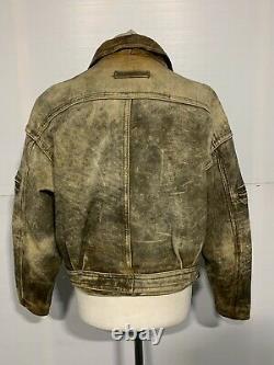 VINTAGE 80's HEIN GERICKE DISTRESSED LEATHER MOTORCYCLE JACKET SIZE 52 / 2XL