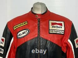 VINTAGE 80's TOP GEAR MARLBORO LEATHER MOTORCYCLE RACING JACKET SIZE XL