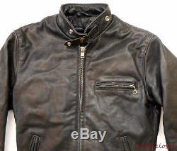 VINTAGE JACKET Schott LEATHER MOTORCYCLE Cafe Racer BLACK Zipper Lining 36