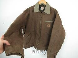 VTG 90s Carhartt Mens Faded Brown US Detroit Jacket Blanket Lined Workwear XL