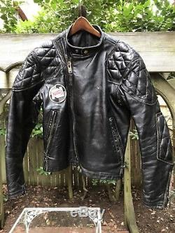 VTG Amazing Black Langlitz Cascade Padded Leather Motorcycle Jacket Rare Size S