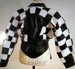 VTG CACHE Black & White Checkered Flag Leather Jacket Small USA Twins 80's
