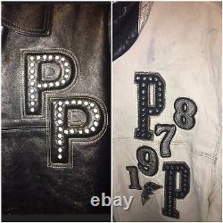 VTG Marc Buchanan PELLE PELLE Studded Black Leather Jacket MENS Sz 46 Black 90s