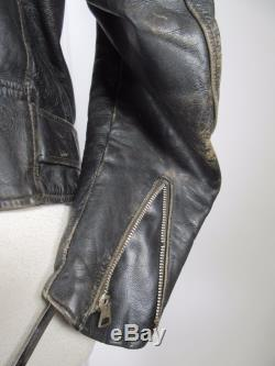 VTG Men 60's SCHOTT Perfecto Motorcycle Cafe Racer Leather Jacket Size 44 14507