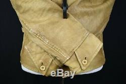VTG Men Polo Ralph Lauren Leather Motorcycle Jacket Camel Moto Distressed RRL M