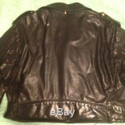 VTG Mens Schott Perfecto 618 Black Steerhide Leather Motorcycle Biker Jacket 54