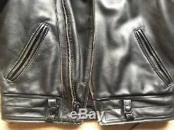 Vanson CHP men's heavyweight leather motorcycle jacket, fur collar, size 40