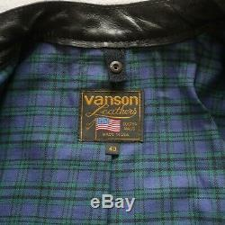 Vanson Cafe Racer Motorcycle Jacket Size 40 Made in USA Black Plaid Lining