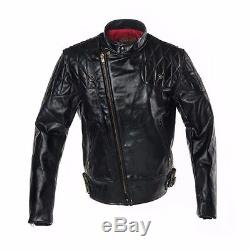 Vanson Chopper Black Leather Motorcycle Jacket Large Red Quilted Lining
