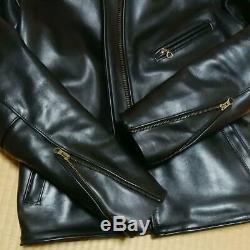 Vanson ENF Leather Rider Jacket Blouson Outer Men's 36 Black Biker Harley USED