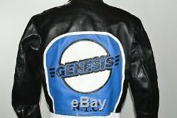 Vanson Leather Black Blue Motorcycle Jacket Genesis NYC Mens 46 Biker Patches