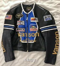Vanson Leathers Blue Star Motorcycle Jacket USA-made. Size M / Medium