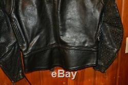 Vanson Leathers Men's Black Perforated Leather Motorcycle Jacket Size 42