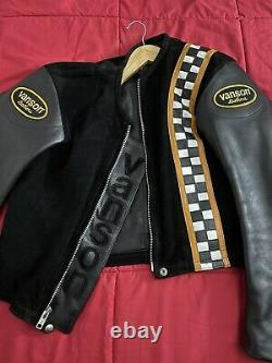 Vanson Leathers Suede Motorcycle Jacket Size 38