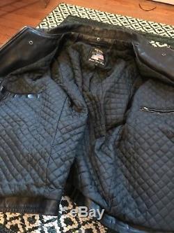 Vanson Leathers black horsehide enfield motorcycle jacket 46