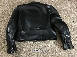 Vanson Leathers heavy Black Motorcycle Jacket Mens 46 thick leather riding