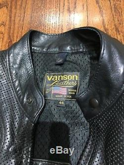 Vanson Men's Perforated Leather Motorcycle Jacket Size 44 Vented Excellent Cond