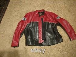 Vanson Red & Black Cafe Racer motorcycle jacket