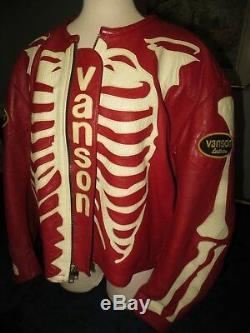 Vanson Red Bones Skeleton Leather Motorcycle Riding Jacket Size 62 (Not Supreme)