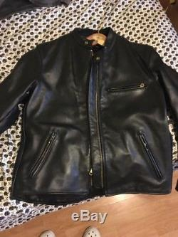Vanson Thick Leather Jacket Men 48 Fitted Collarless High Waisted USA