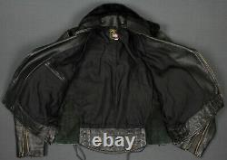 Vanson Vintage Made In USA Leather Motorcycle Jacket 42 CHP Talon Zip