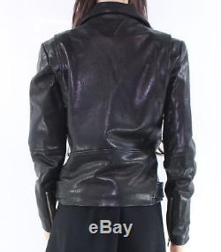 Veda Black Belted Women's Size Small S Motorcycle Leather Jacket $990- #056