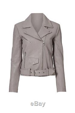 Veda Gray Smoke Women's Size XS Belted Motorcycle Leather Jacket $990- #059