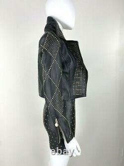 Versace 2 US 38 IT XS Black Leather Jacket Coat Gold Studs Full Zip Runway Auth