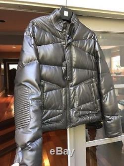 Versace Down Filled Leather Jacket Dark Brown