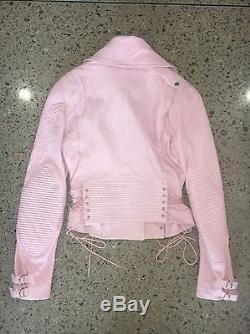 Versace Pink Leather Corset Lace-up Asymmetrical Zip Motorcyle Jacket
