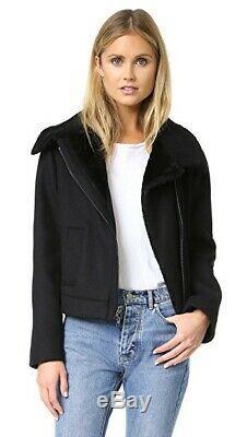 Vince $750 Black Wool & Genuine Lamb Shearling Moto Jacket Coat SZ M