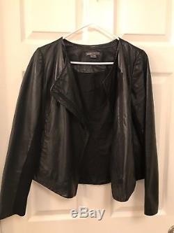 Vince Black Leather Scuba Jacket size Small