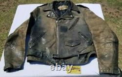 Vintage 1970s SCHOTT Perfecto Classic Leather Biker Motorcycle Jacket Size 42